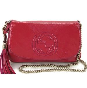 AUTH GUCCI SOHO PATENT LEATHER CHAIN SHOULDER BAG